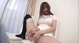 Sweet girl gets wet for big purple faux-cock and puts it in her holes