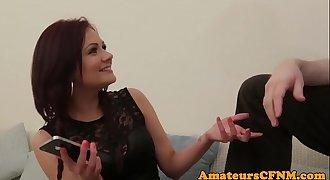 CFNM redhead babe wanking and blowing cock