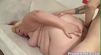 Overweighted beauty spoon fucked by hard cock