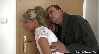 Parents trick their son'_s GF into 3some sex